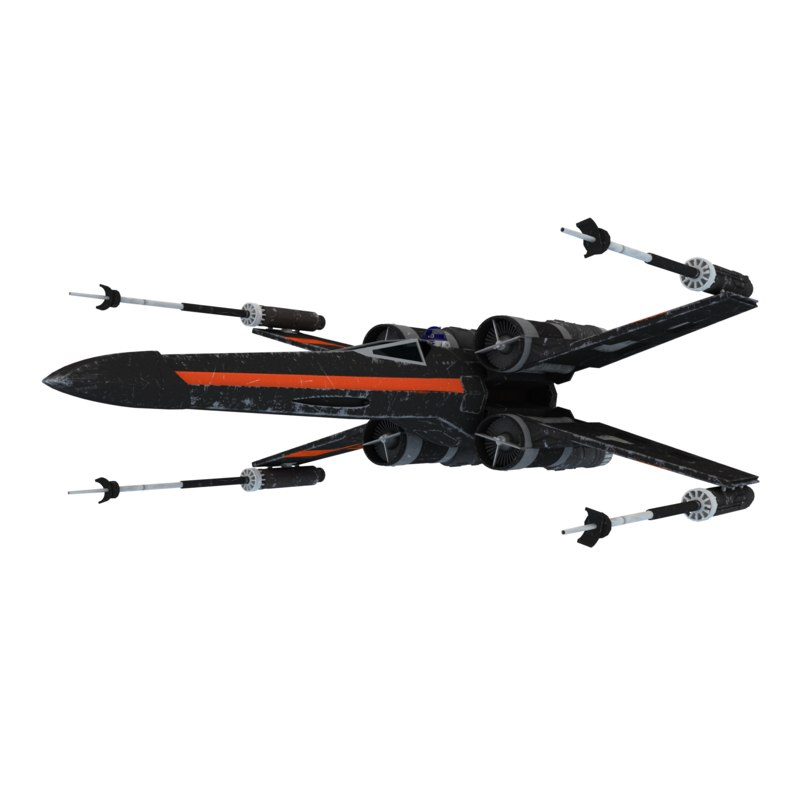 3d model resistance x-wing fighter black