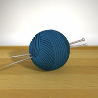 3d model ball yarn knitting needles