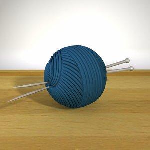 3d model ball yarn knitting needles