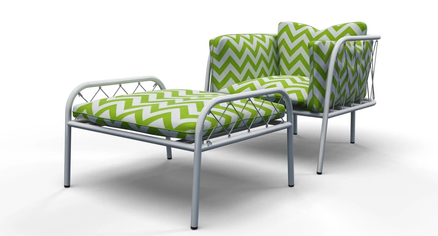 tubular outdoor chair ottoman 3d model