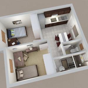 bedroom apartment 3d model