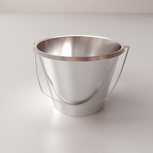 3d model stainless steel bucket