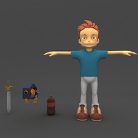 super boy model with gun and sword