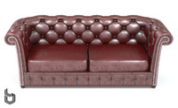 chesterfield 2-seater leather sofa 3d model