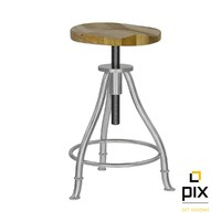 3d realistic height adjustable stool