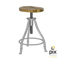 3d realistic height adjustable stool