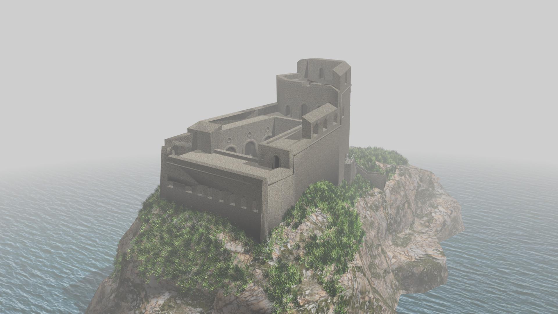 3d model war castle lovrijenac engraving