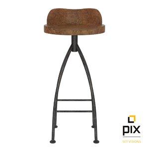 3d realistic rustic bar stool model