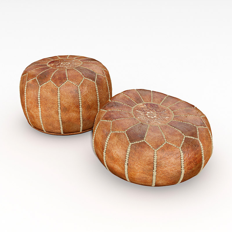 tan brown moroccan poufs 3d max