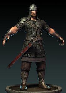 armored medieval warrior obj