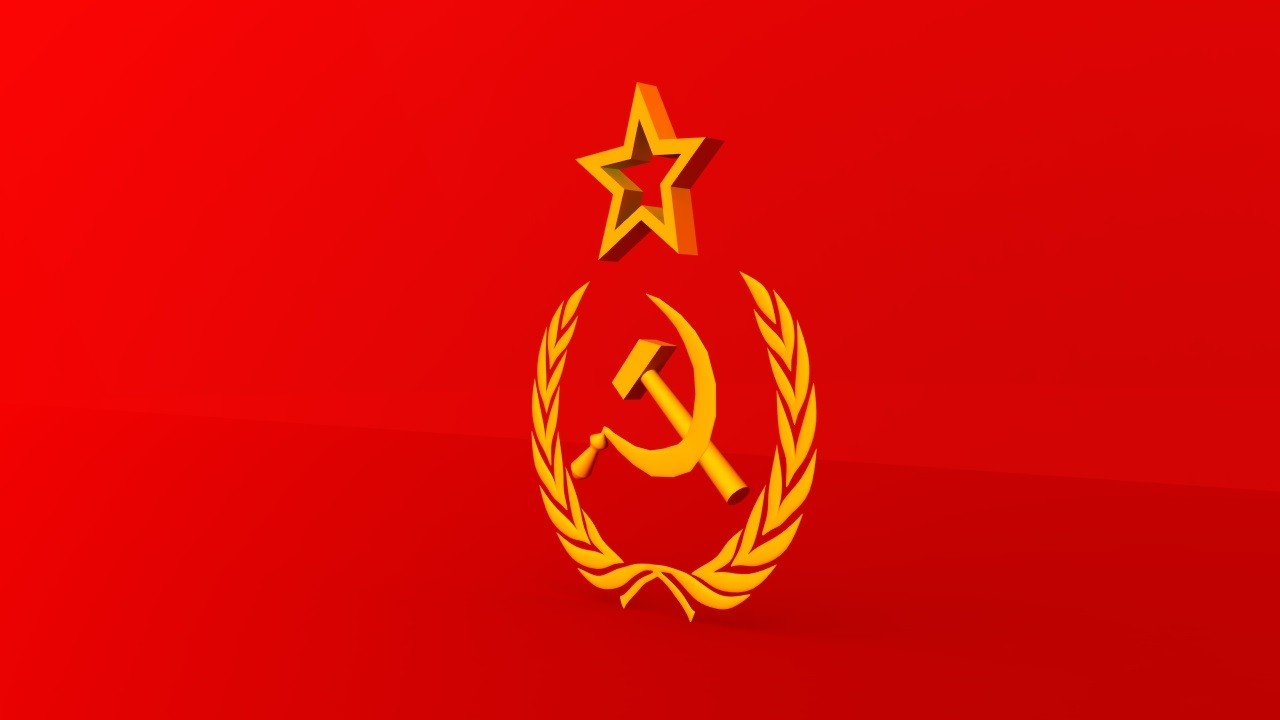3d model soviet hammer sickle engraving