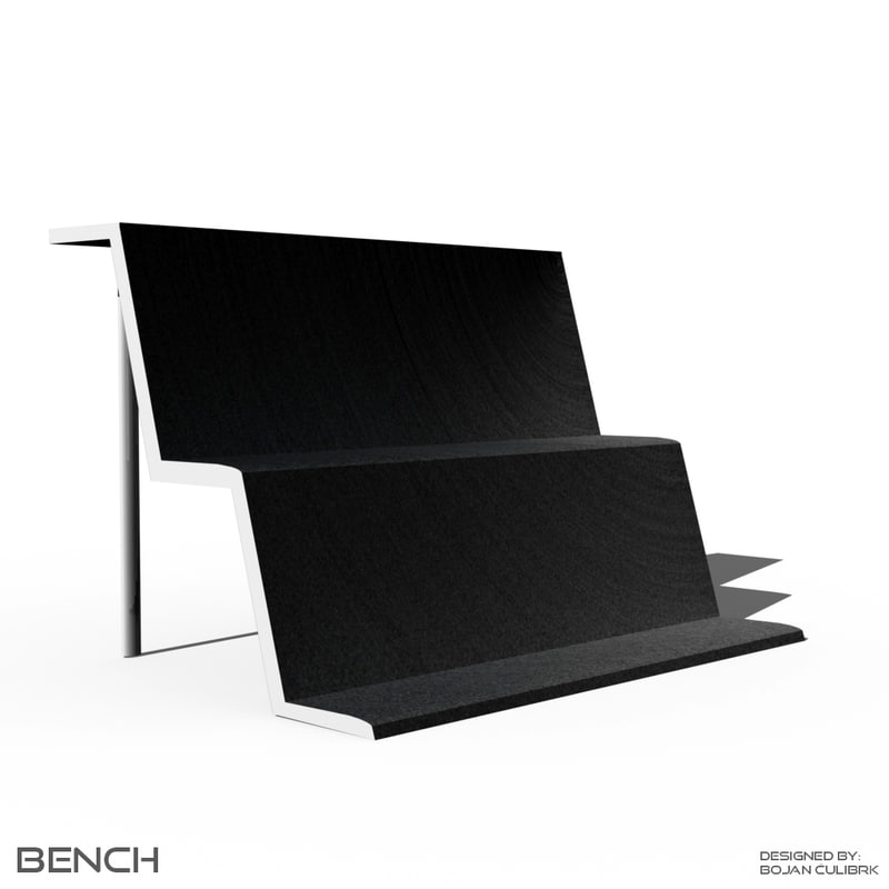 3d bench table chair set model
