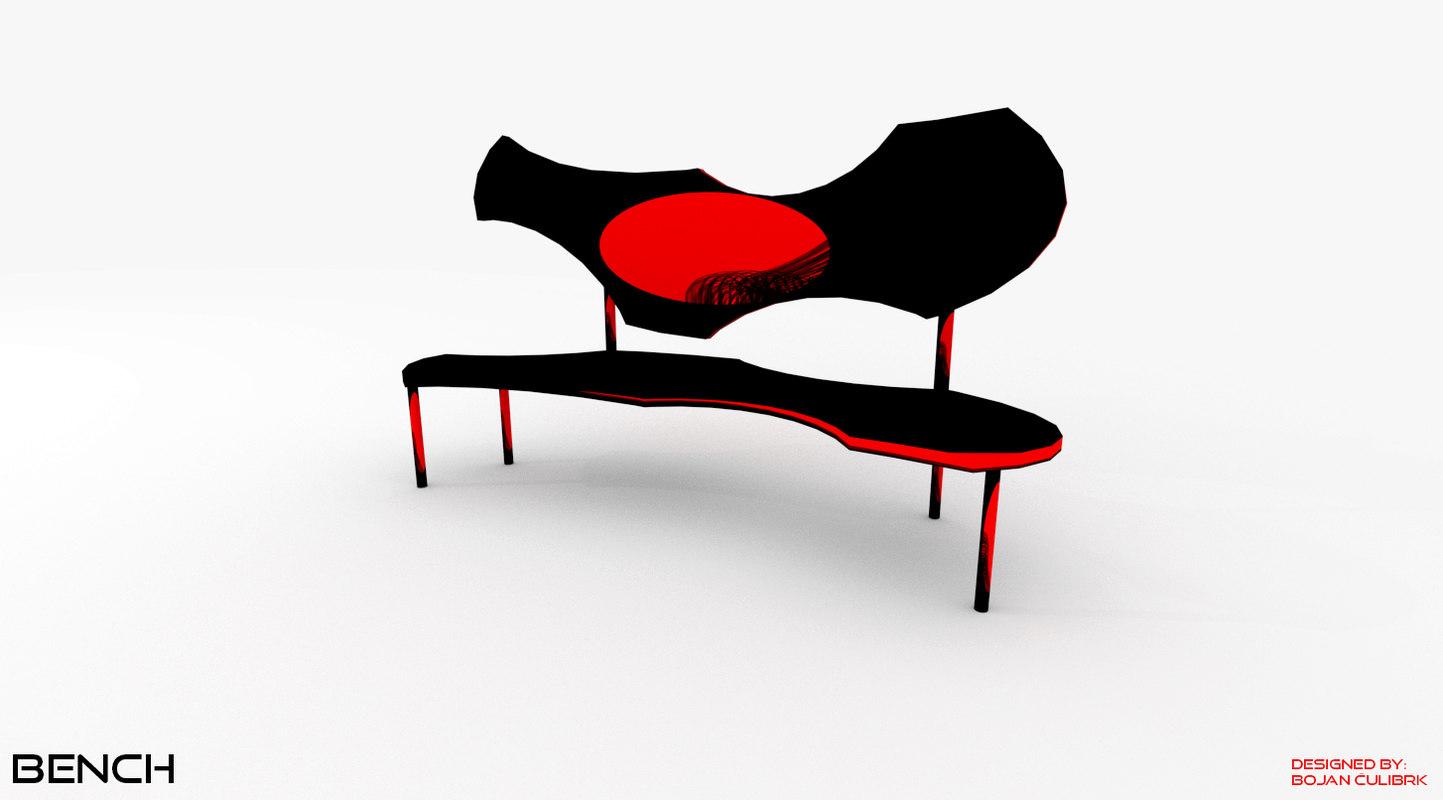 3d model bench chair set