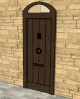 medieval door with letterbox