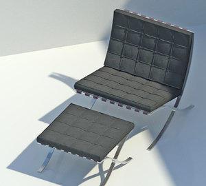 Barcelona Chair and Stool Revit 3D BIM RFA Family