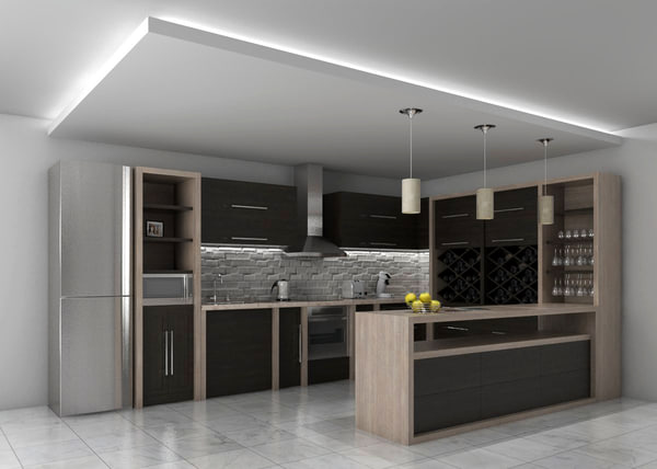 3d kitchen design interior model