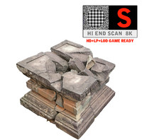 ancient broken stone 3d model