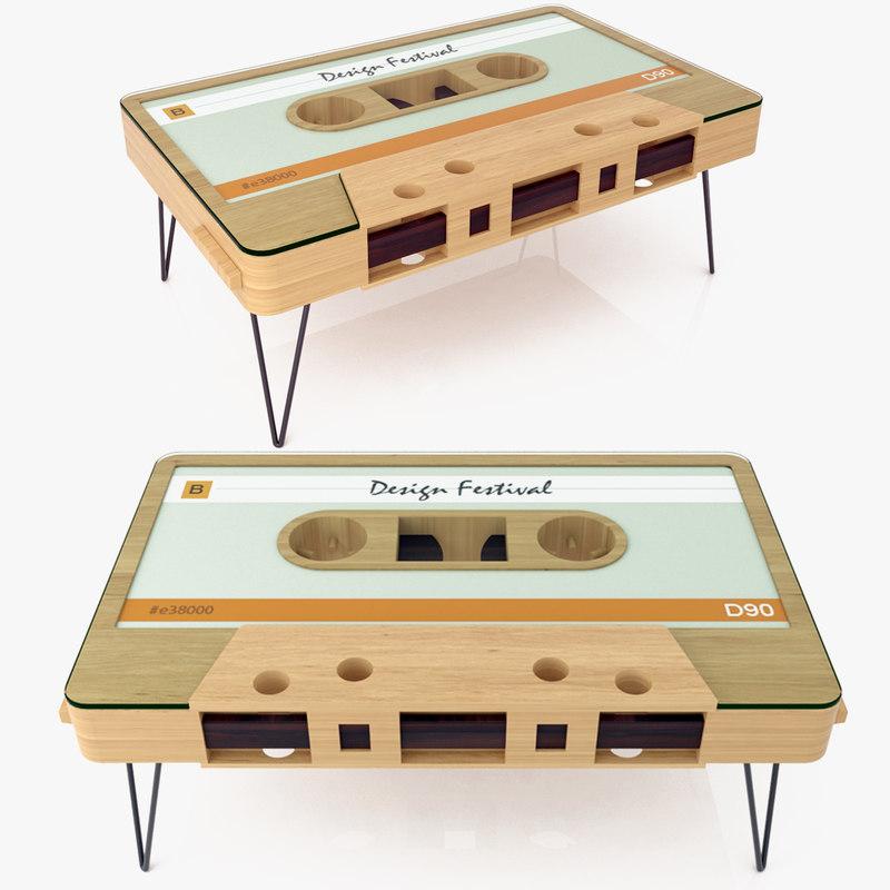 3d model of cassette tape coffee table