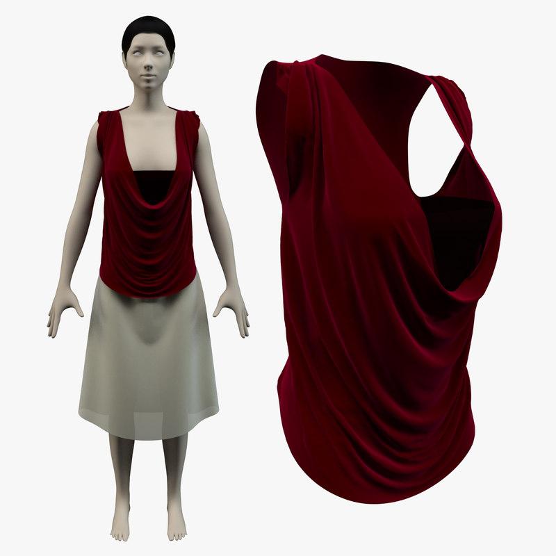 cowl shirt skirt avatar 3d model