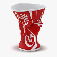 3d model crumpled drink cup coca cola