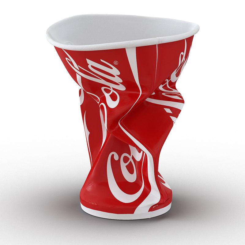 3d model crumpled drink cup coca cola
