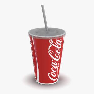drink cup coca cola 3d model