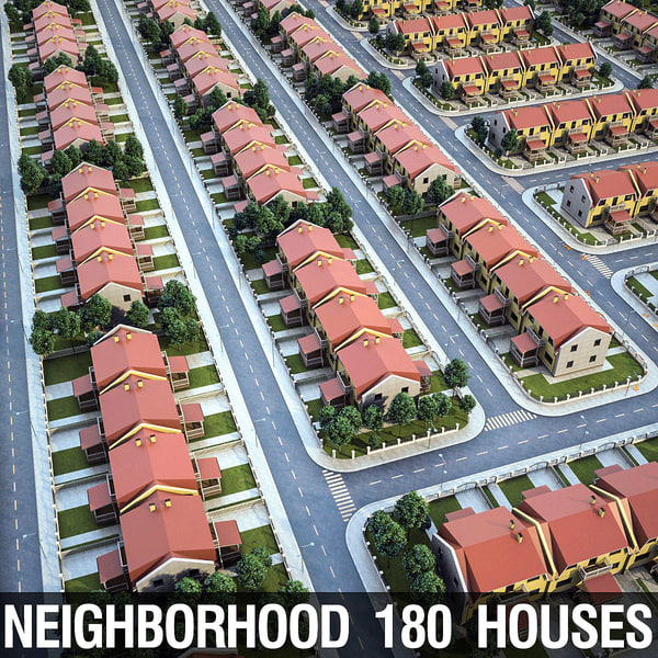 neighborhood 180 houses 3d max