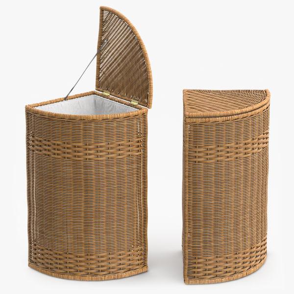 wicker laundry basket rattan 3d max
