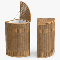 wicker laundry basket rattan 3d max