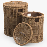 wicker laundry basket rattan 3d model