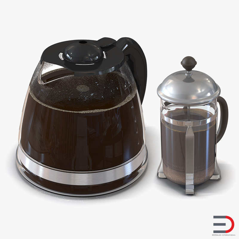 3d model of french coffee pots