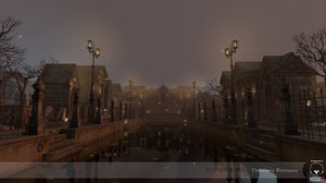 3d model gothic city pack cemetery