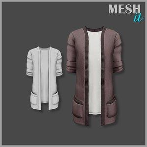 male cardigan shirt 3d 3ds