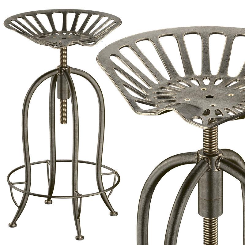 3d max aldean bar stool