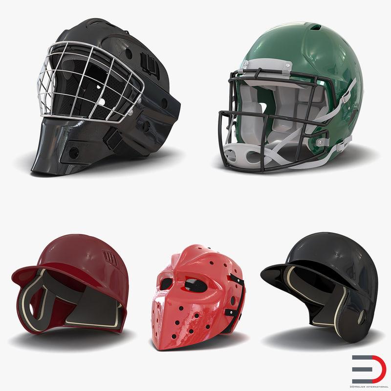 sport helmets 2 3d model