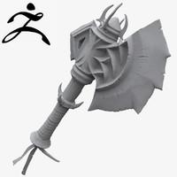 3d model battle axe zbrush