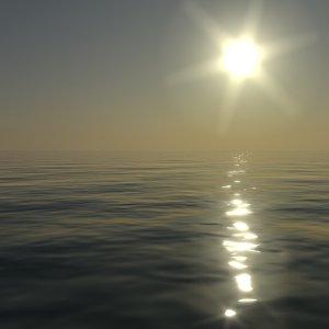 3d model water surface sun sunset