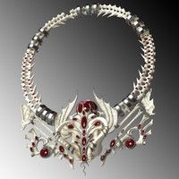 3d fbx necklace red stone