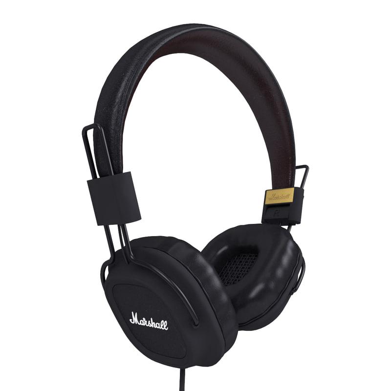 3d model marshall major headphones