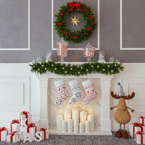 christmas decorative moose 3d model
