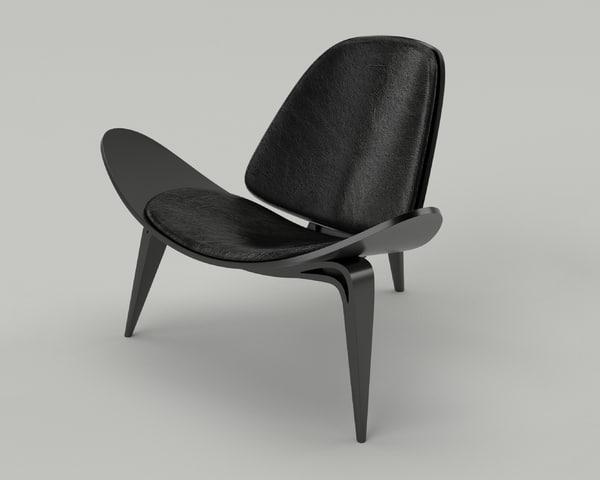 3ds wegner ch07 shell chair
