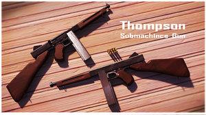 thompson sub-machine gun 3d ma