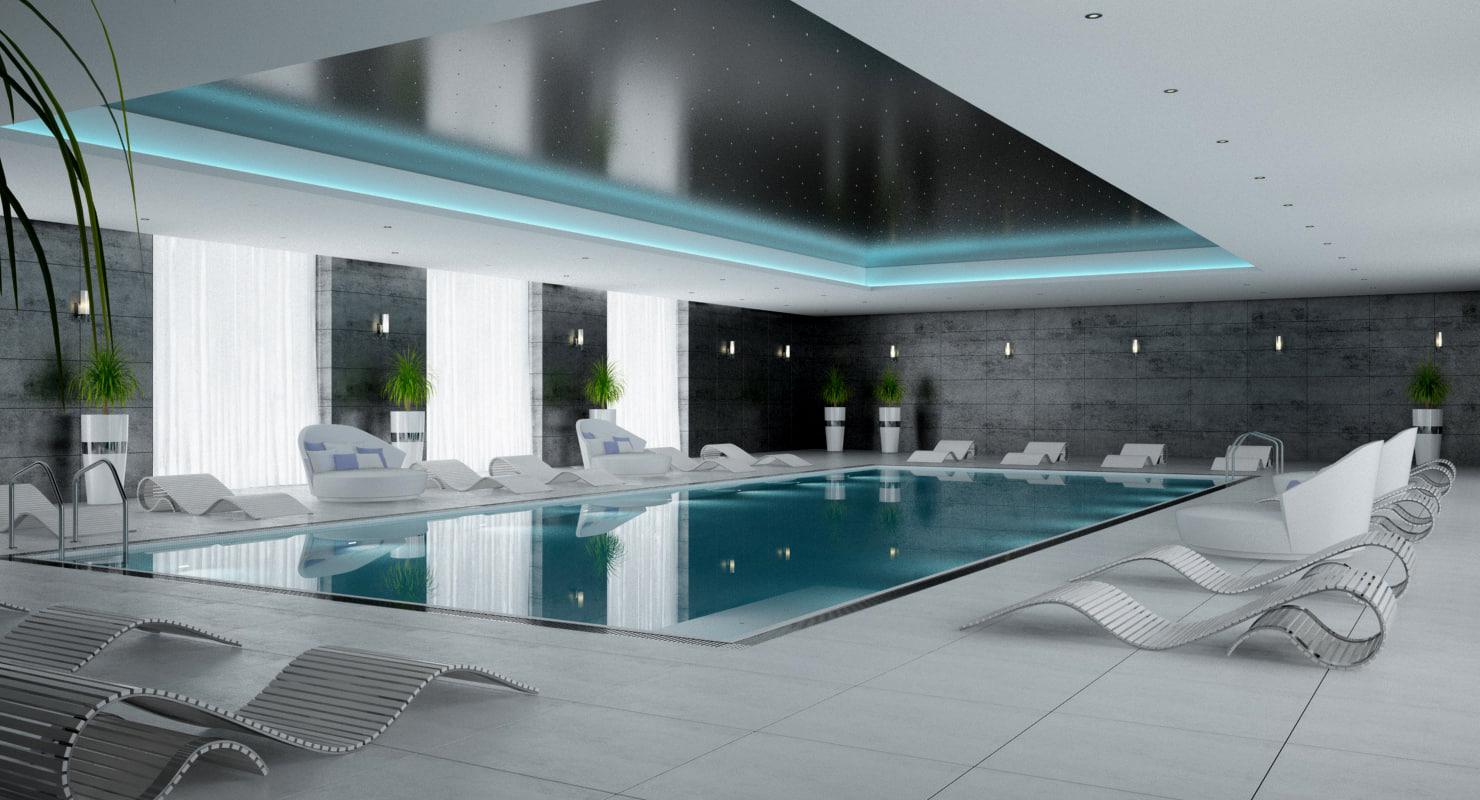 3ds scene pool interior