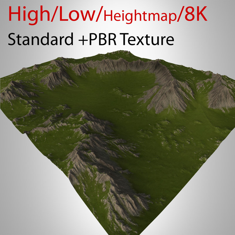 3d model of mountain valley landscape