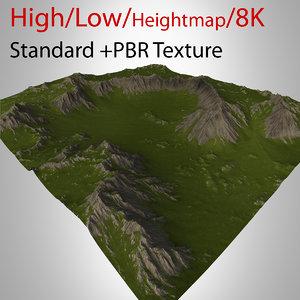 3d model of mountain valley landscape