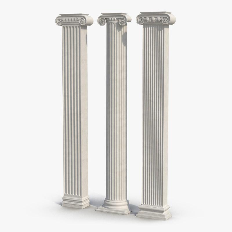 obj pilasters ionic greco roman