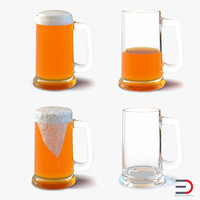 Beer Mugs 3D Models Collection