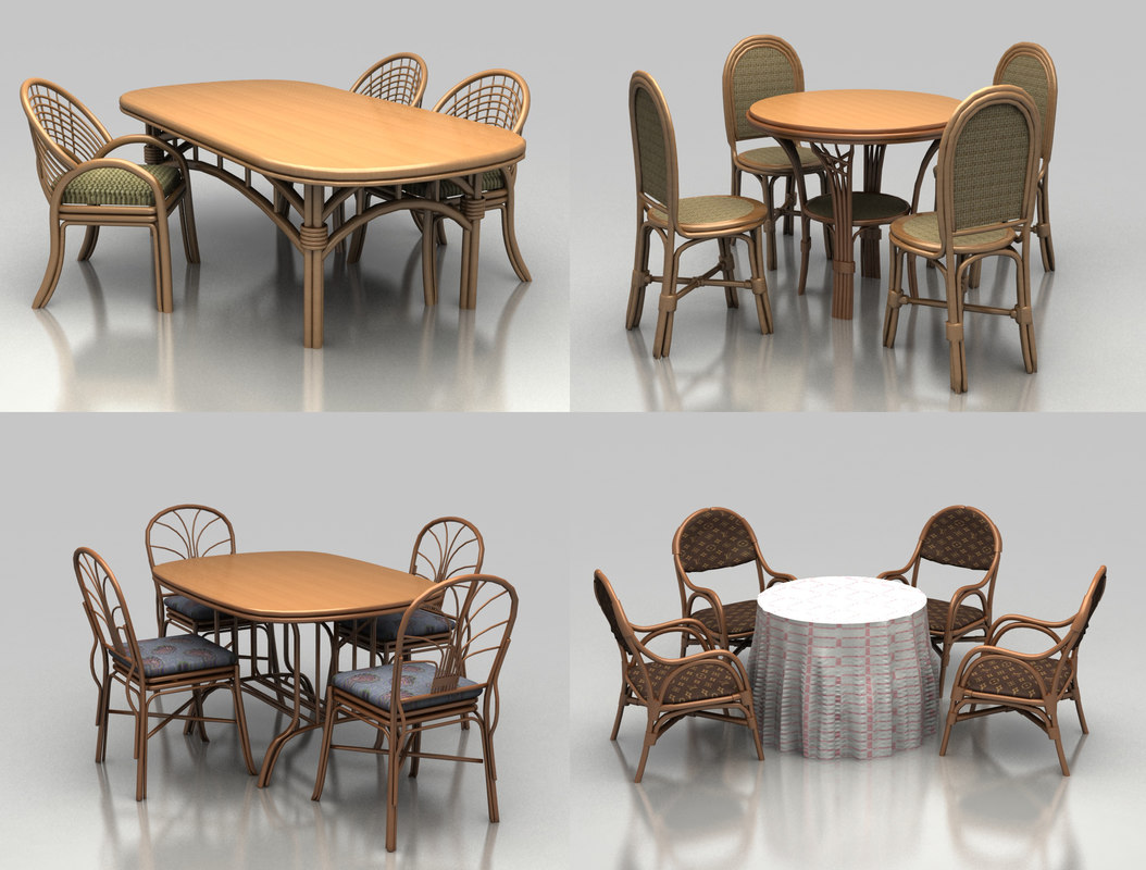 wicker garden furniture 3d 3ds