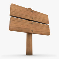 realistic wooden signboard 01 3d model