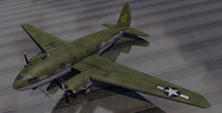 curtiss-wright c-46 commando transport 3d 3ds